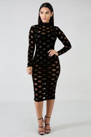 Diamonds Velvet Midi Dress