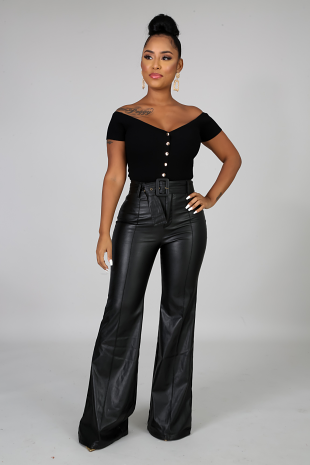 Leatherette Bell Bottoms