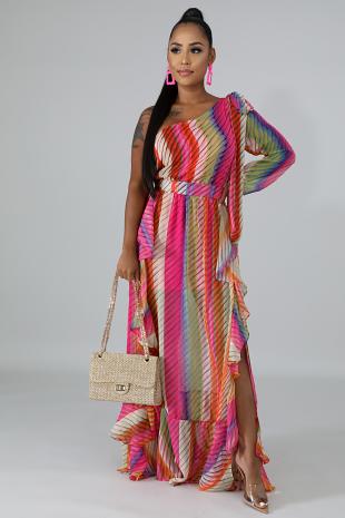 Stripe Dye Swirl Dress