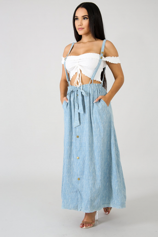 Textured Denim Overall Maxi Skirt