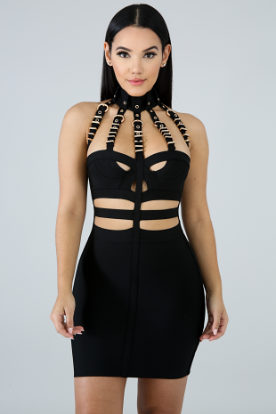 Bandage Belt Body-Con Dress