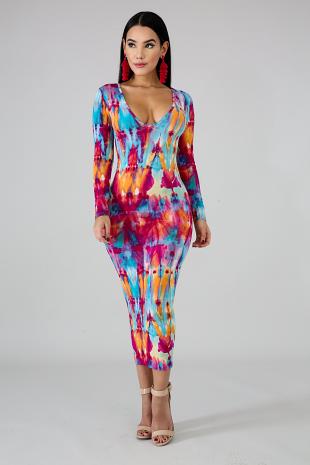 Dye Splash Midi Dress