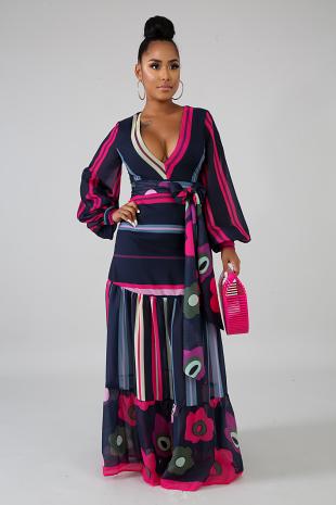 Chiffon Rosy Maxi Dress