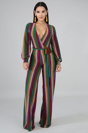 Color Knit Stripe Jumpsuit