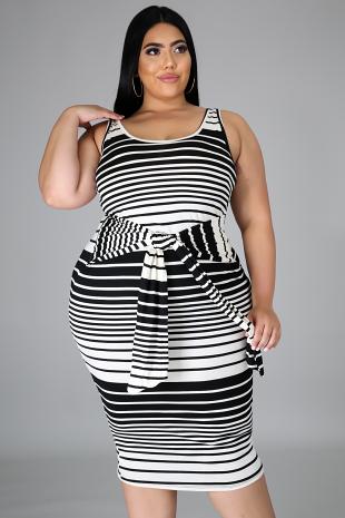 Black Stripe Tie Midi Dress
