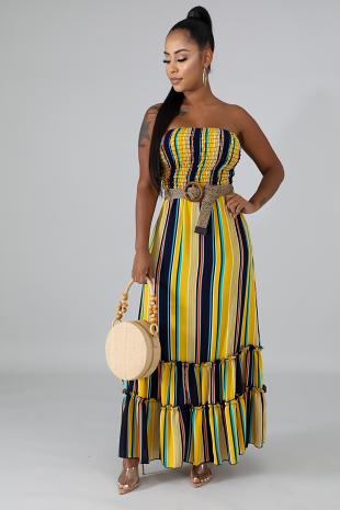 Smocked Tube Stripe Maxi Dress