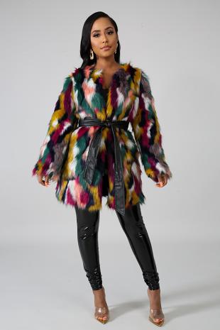 Rainbow Fuzzy Jacket