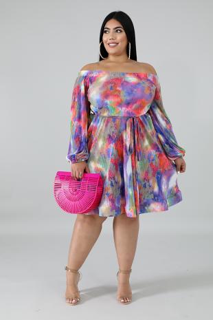 Swirly Pleated Dress