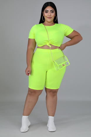 Neon Spandex Short Set