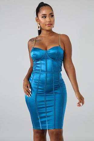Chain Trim Body-Con Dress
