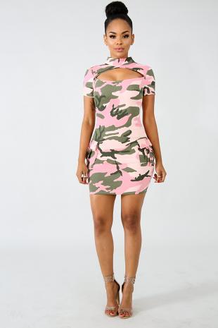 Camo Body-Con Dress
