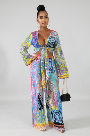 Popping Pleated Palazzo Set