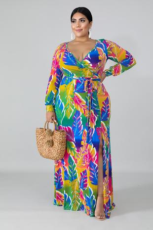 Color Palms Maxi Dress