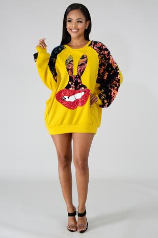 Sequin Bunny Lips Sweater