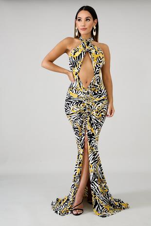 Scrunched Chain Mermaid Dress