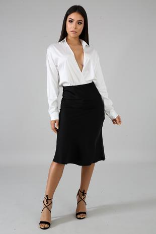 Silky Pencil Flare Skirt