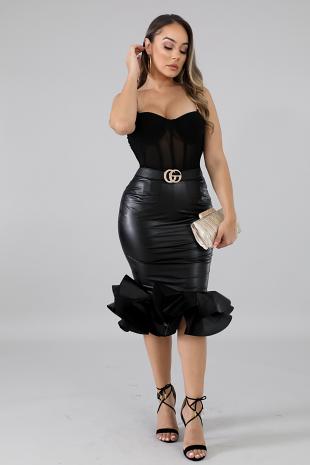 Leatherette Swirl Skirt