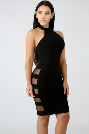 Ladder Sheer Body-Con Dress