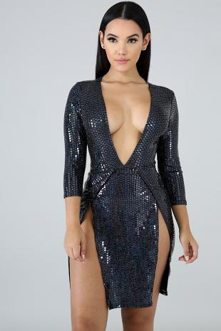 Square Sequin Diosa Dress