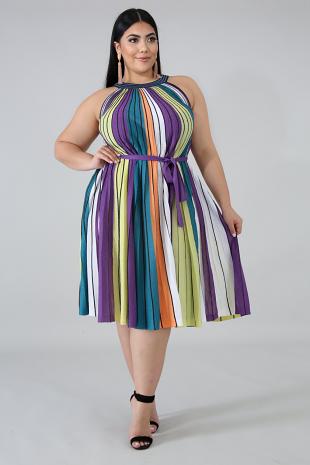Metallic Stripe Maxi Dress