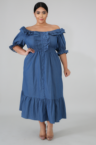 High Class Denim Maxi Dress