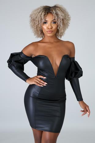 Leatherette Puff Dress