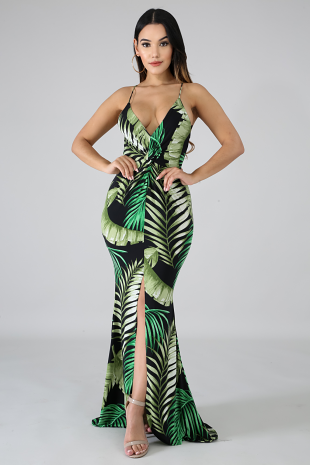 Hourglass Palms Mermaid Dress