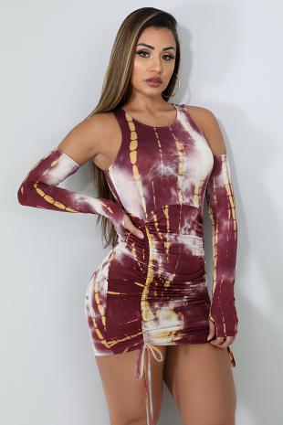 Ruched Tie Dye Dress