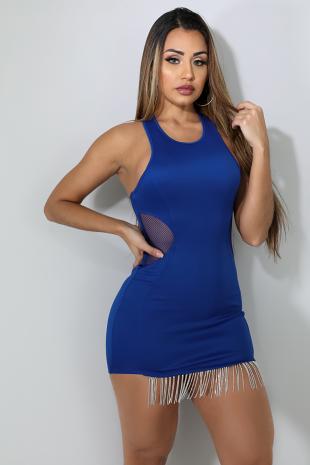 Neon Rhinestone Net Dress