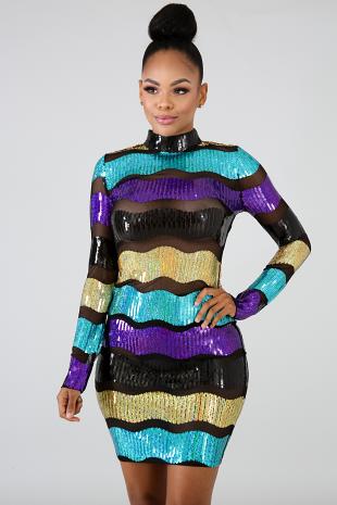 Sequin Color Stripe Body-Con Dress