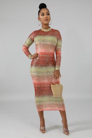 Stripe Shiny Dress