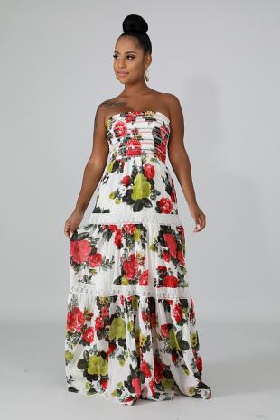 Floral Accordion Maxi Dress