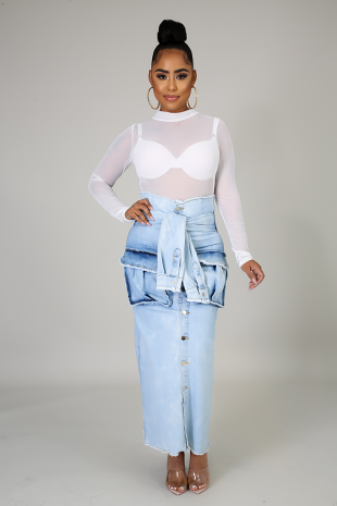Trim Denim Maxi Skirt