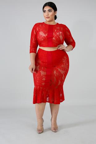 Lace Stripe Skirt Set