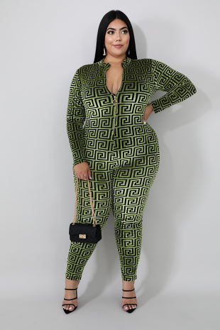 Cube Swirl Zip Up Jumpsuit