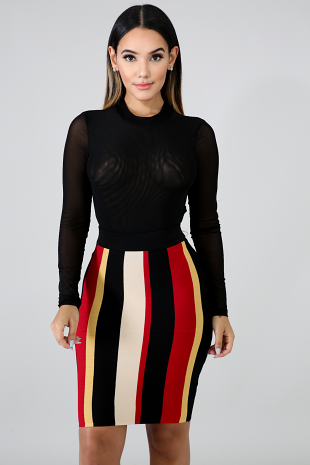 Stripe Knitted Skirt