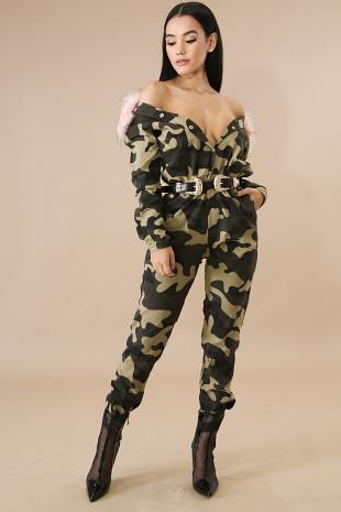 Faux Fur Camouflage Jumpsuit