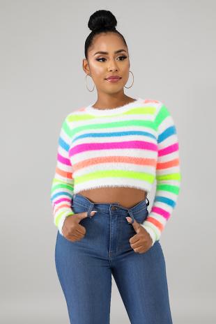 Fuzzy Neon Stripe Top