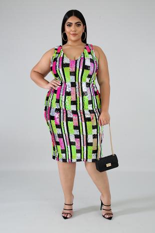 Sequin Color Blocks Dress