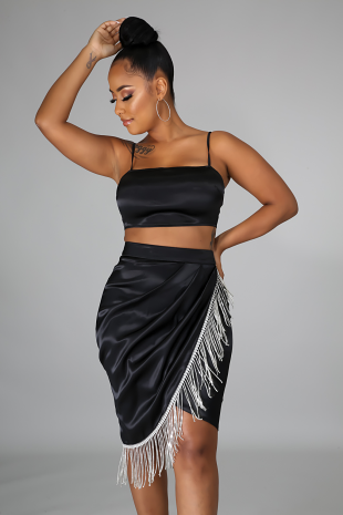 Silky Diamond Fringe Skirt Set