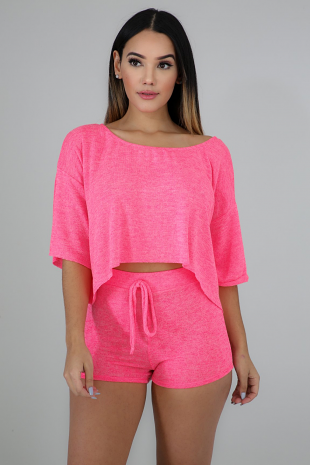 Neon Knit Short Set