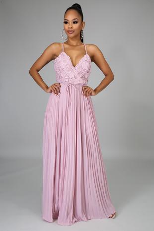 Rosy Crochet Maxi Dress