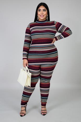 Striped In Shine Pant Set