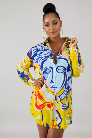 Face Print Dress