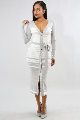 Baby Stripe Knit Maxi Dress