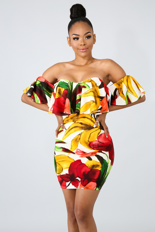 Ruffle Floral Body-Con Dress