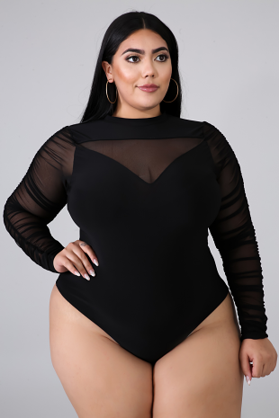 Ruched Sheer Bodysuit