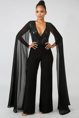 Sequin Sheer Wing Bodysuit