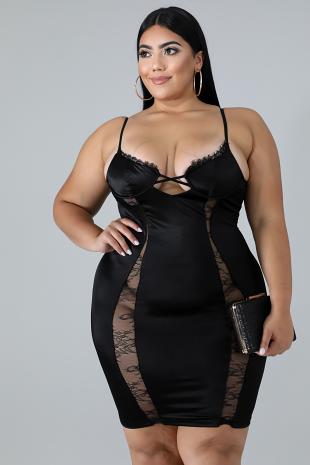 Silky Lace Body-Con Dress
