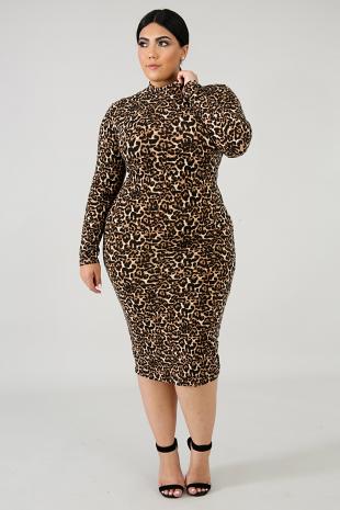 Cheetah Flannel Body-Con Dress